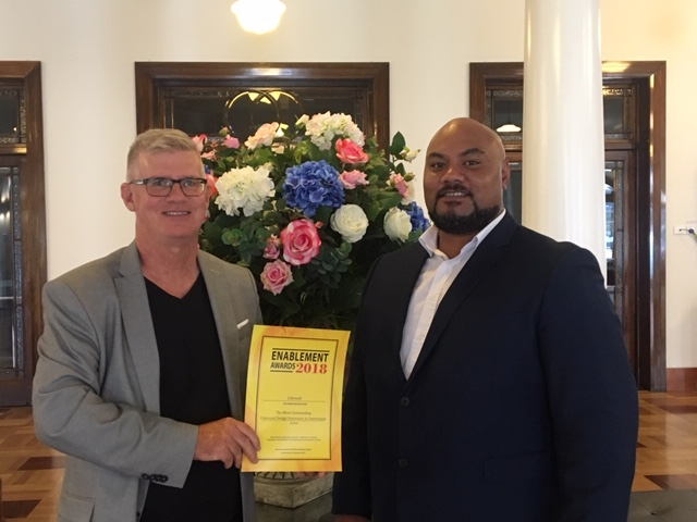 "Caption: Geoff Penrose, General Manager, Lifemark (left) and A'asa Sanerivi, Board member CCS Disability Action and Director of Lifemark (right) in Melbourne to receive the ""Most outstanding Universal Design innovator in Australasia"" award."